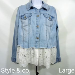 Style & co. Distressed Raw Hem Jean Jacket